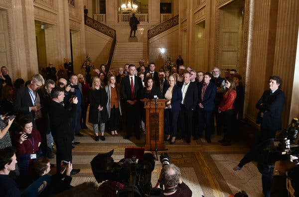 """Mary Lou McDonald, the leader of Sinn Fein, at a news conference in Belfast on Friday. She cited """"the serious challenges ahead."""""""