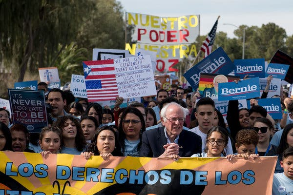 Senator Bernie Sanders joined a march in Las Vegas on Saturday. Mr. Sanders was one of several candidates who sought to rally supporters in the state on Saturday.