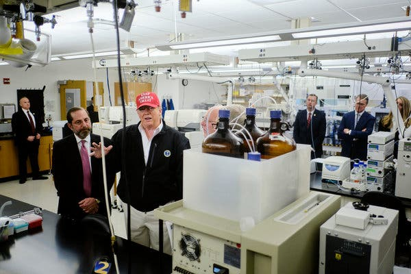 President Trump, with Alex M. Azar II, the health and human services secretary, touring the Centers for Disease Control and Prevention in Atlanta on Friday.