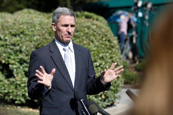 Kenneth T. Cuccinelli II was tapped in June to be the acting director of the agency that oversees legal immigration.
