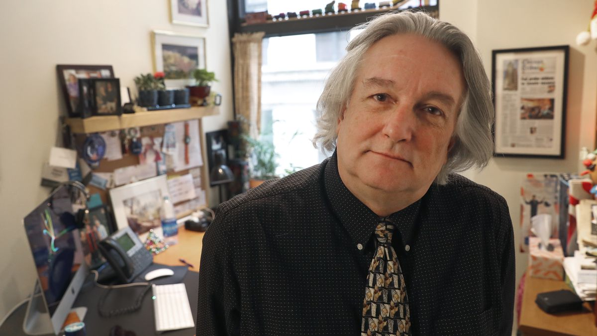 In this Monday, March 9, 2020, photo, David Kidwell, special projects editor with the Better Government Association, poses for a portrait at his office office in Chicago. Political misinformation is often considered a national and international challenge, in part because of the Russian-based trolls and bots who spread false claims and sowed division in a bid to influence the 2016 U.S. election. It's increasingly a problem on Main Street, too, as local candidates and politicians adopt misinformation tactics and local news organizations shrink or shut down, leaving residents with fewer credible sources of information. (AP Photo/Charles Rex Arbogast)