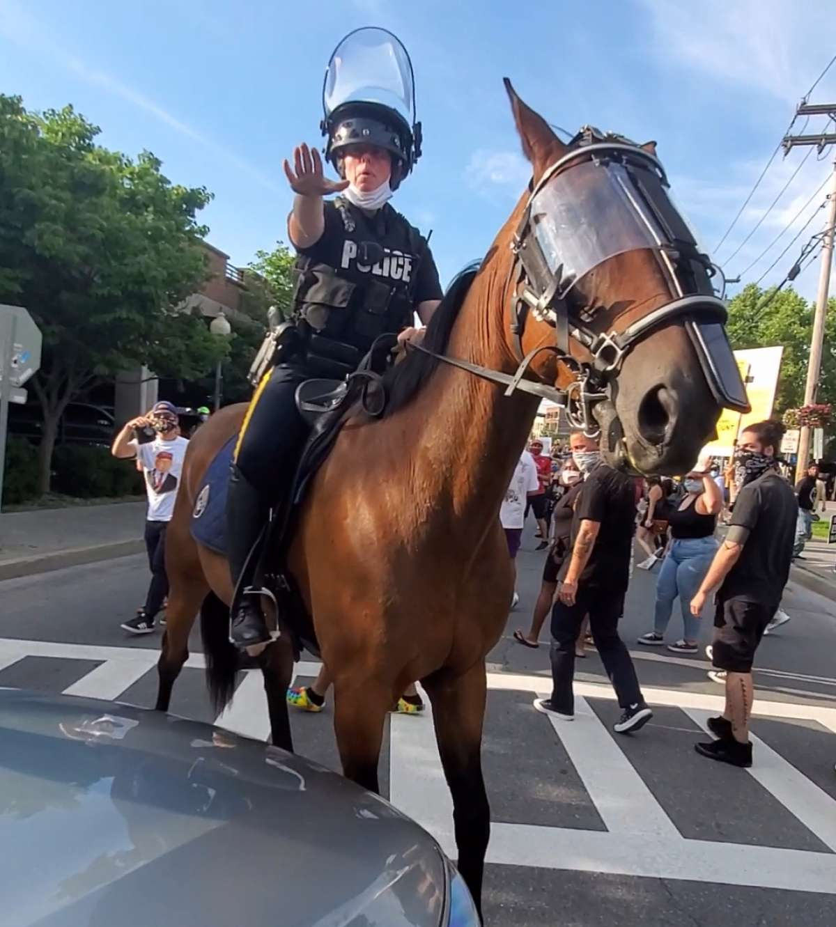 Protester Keni Zoeli took this photo of a Saratoga Springs police officer and horse during the march, which looped down Maple Avenue from Broadway.