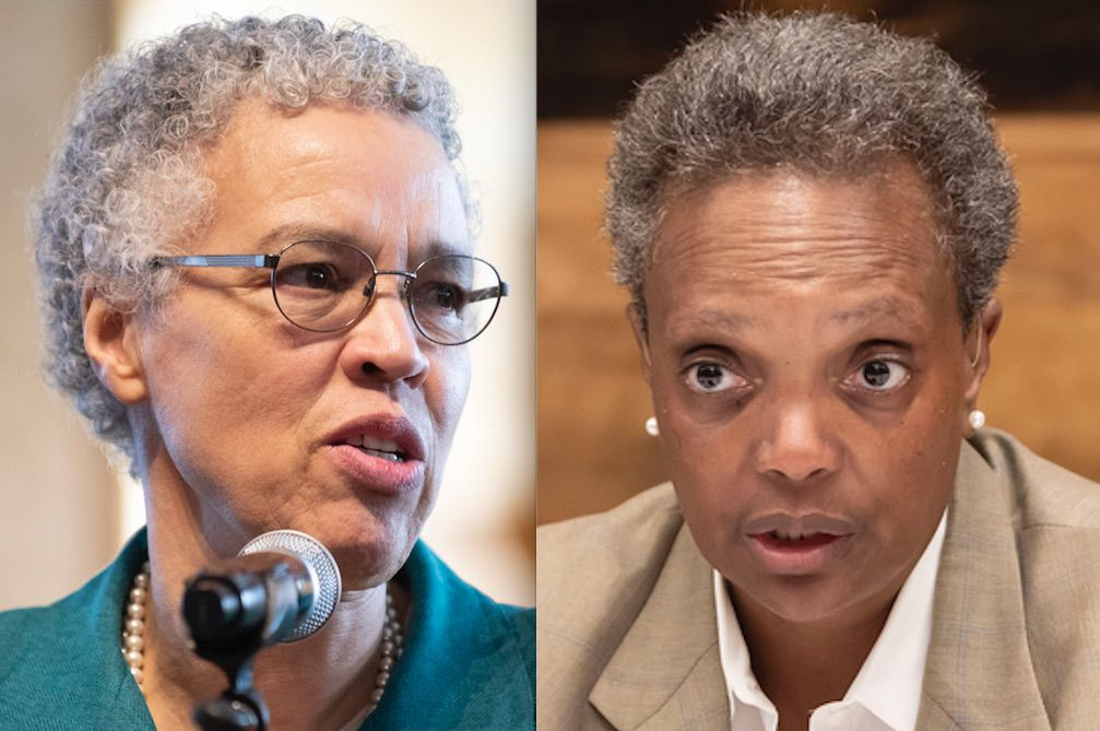 Cook County Board President Toni Preckwinkle, left, and Mayor Lori Lightfoot, right, last year.