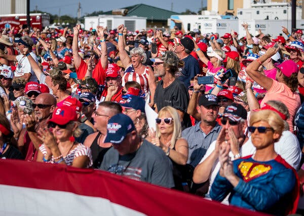 Supporters of Mr. Trump at a rally in Ocala, Fla., on Friday. The president's advisers have packed his calendar with rallies in the days remaining until the election.